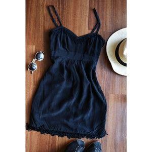 Anthro BlueJuice Black Silk Fringe Dress